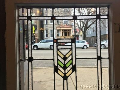 """1 of 2 Antique Prairie Style Stained Glass Door / Window From Chicago 45"""" by 24"""""""