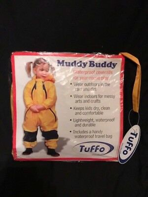 Tuffo Muddy Buddy Boys Girls Yellow Waterproof Coveralls & Bag 18 Ms Nib New