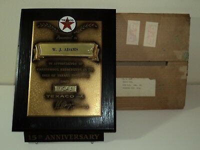 TEXACO 1960 Vendor 15th Anniversary Appreciation Plaque w/Original Shipping Box