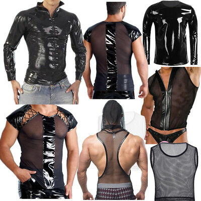 Sexy Men Leather Muscle Tank Top T-Shirt Mesh Undershirt Clubwear Vest Pullover