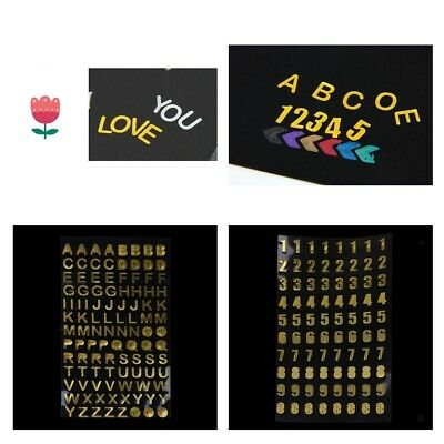 Peel Off Gold Modern Alphabet Letters / Number Stickers Scrapbook Card Craft