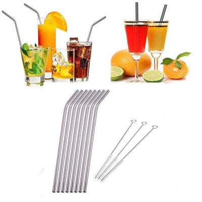 8 x Stainless Steel Metal Drinking Straw Straws Bent Reusable Washable+3 Brushes