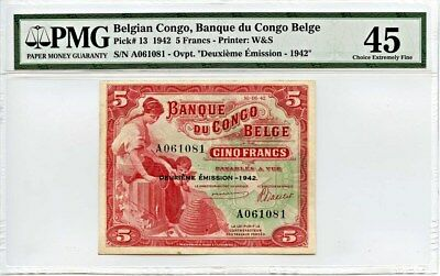Belgian Congo: 1942 5 Francs PMG 45 (P-13) - - Uncommon in this grade.