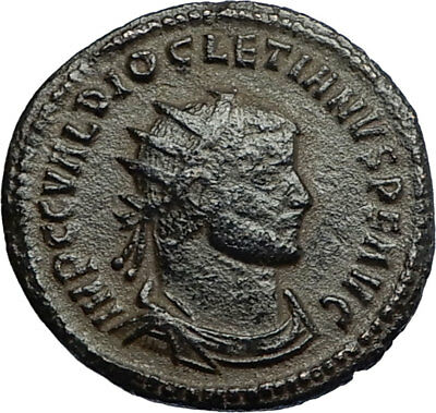 DIOCLETIAN Ancient 293AD Authentic Roman Antioch Coin w JUPITER VICTORY i67767