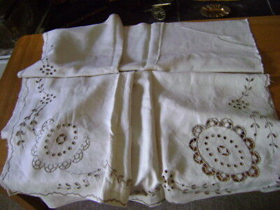 "Cream Linen tablecloth to complete embroiderery, cutwork, 54"" X 54"","