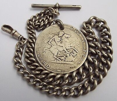 Superb Heavy English Antique 1918 Solid Sterling Silver Albert Chain & Crown Fob