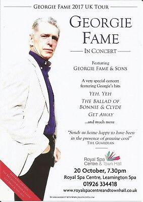 Georgie Fame   UK Concert Tour 2017  Leamington Spa   Promo Flyer / Handbill x 3