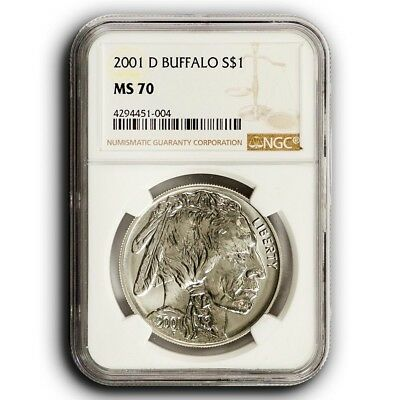 2001-D NGC MS70 Buffalo Commemorative Silver Dollar $1 Coin