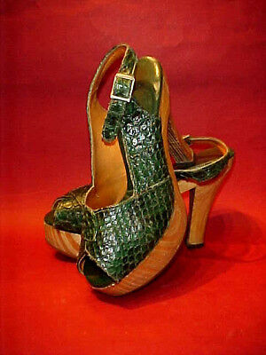 VTG 1970s WOOD PLATFORM HEELS w/ GENUINE SNAKE SKIN IN EMERALD GREEN, MID C MOD