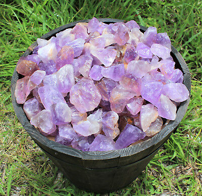 2 lb Bulk Lot Rough Natural Amethyst (Brazil) Premium Grade Rocks Stone Tumbling