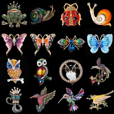 Women Lovely Crystal Rhinestone Animal Cat Bird Insect Brooch Pin Jewelry Gift