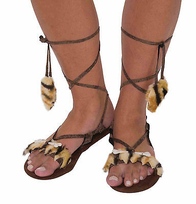 Womens Stone Age Sandals Caveman Pre Historic Costume Accessory Adult One Size