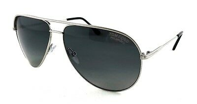 TOM FORD FT0466 17D ERIN Matte Palladium w Polarized Smoke Gray Lens Suns $429