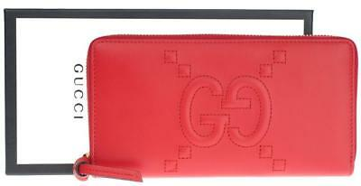 08e0ea0c470 New Gucci Red Leather Gg Embossed Long Zip Around Clutch Wallet W box