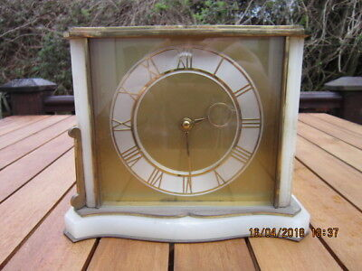 Vintage Smiths Mantel Clock Brass & Onyx FOR PARTS or REPAIR