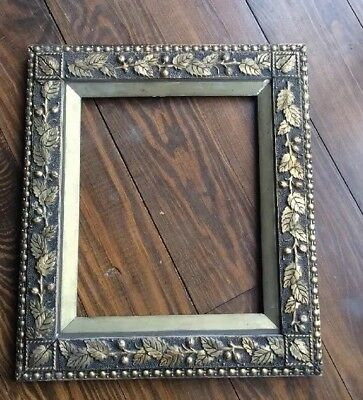 Antique Victorian Gesso Frame Cherry Blossoms & Leaves Gilded 15 1/2 X 17 1/2
