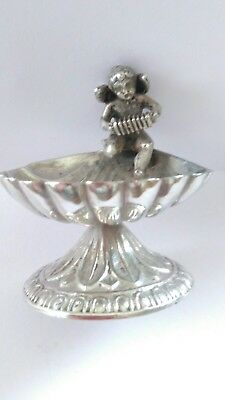 Vintage Solid Silver Cherub Salts Server Dish. Perfect.