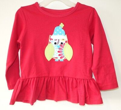 New In Package Kelly's Kids Red Paisley Owl Brooklyn Top Girl's Sz 4-5