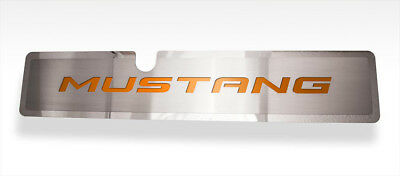 Stainless Radiator Cover With Orange Fury MUSTANG Inlay For 2015-2017 Mustang GT