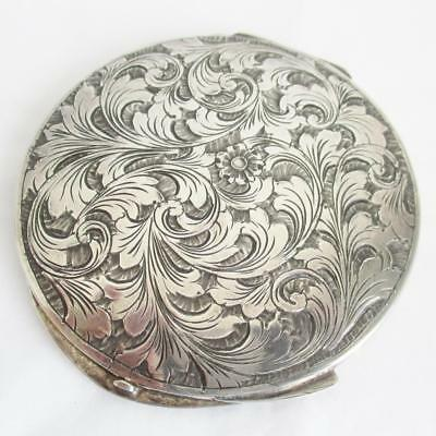RARE STYLISH ITALIAN SILVER COMPACT 1950s by F. LLi Fossi  with MIRROR & GAUZE