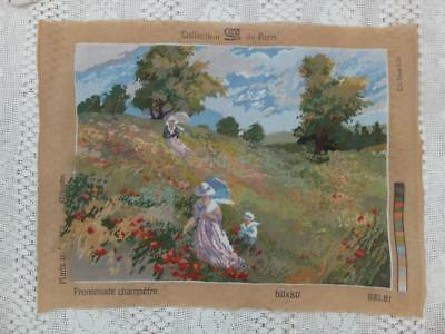 """25"""" Completed Poppy Field Vintage Wool Tapestry Embroiderty Picture Panel French"""