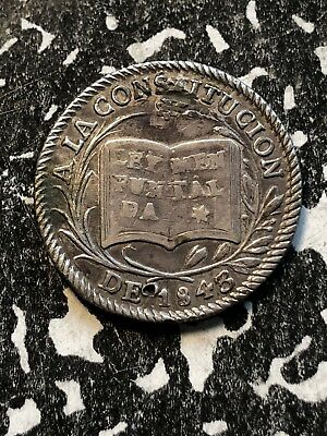 1843 Bolivia Proclamation Coinage Medal 1 Sol Silver! Lot#P013 BRN#27