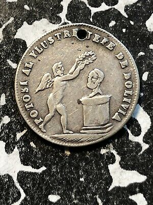 1853 Bolivia Proclamation Coinage Medal 1 Sol Silver! Lot#P027 BRN#61a
