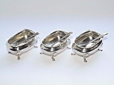 Antique Solid Silver Sterling Salt Cellars & Salt Spoons Set Of 3 B/ham 1913