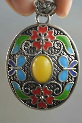 Collectable Handwork Old Miao Silver Carve Flower Inlay Agate Auspcious Pendant