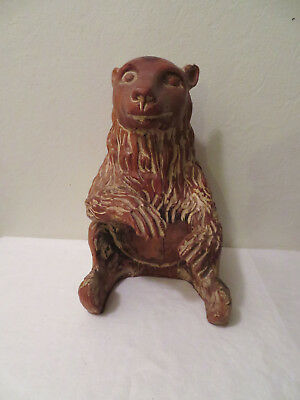 """Vintage or Antique Hand Carved Wood Sitting Bear Statue 13"""" Rare LOOK"""