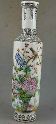 Collectable Handwork Old Porcelain Painting Flower & Bird Auspicious Lucky Vase