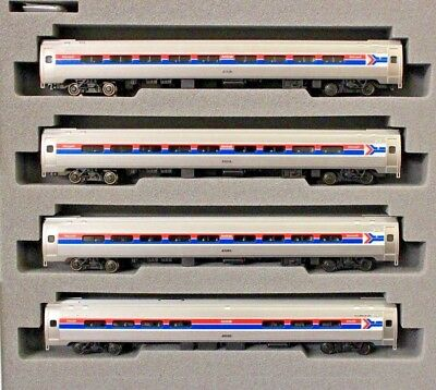 N Scale - KATO 106-8011 AMTRAK Phase I Amfleet I - 4 Car Set 3 Coach & 1 Cafe