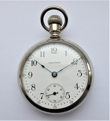 1914 Nickel Silver Screw Cased Waltham English Lever Pocket Watch