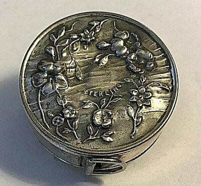 Antique Beautiful Webster Sterling Silver Flowers Measuring Tape #359