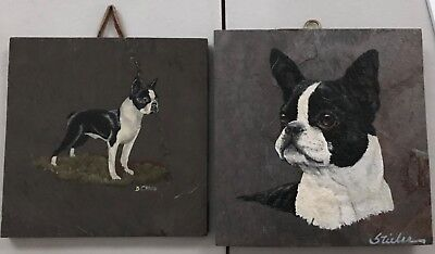 Pr. Signed Hand Painted Boston Terriers on Slate Tiles ~ 1 standing & 1 dog head