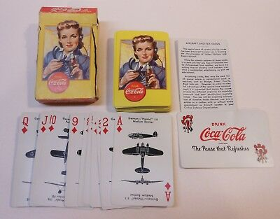 """Vintage Coca Cola 1943 """"Womens Volunteer Spotter"""" Deck of Playing Cards"""