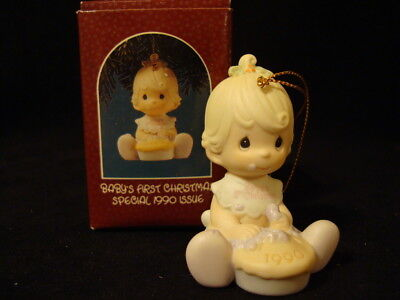 Precious Moments Ornaments-Baby's 1'ST Christmas Girl-1990 Limited Edition