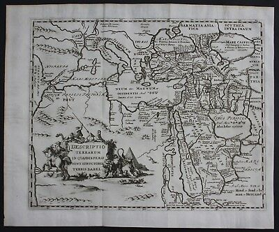 1700 Middle East Asia Minor Cyprus Turkey Arabia map engraving antique print