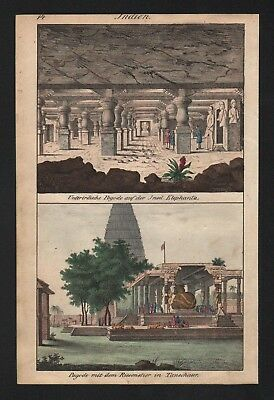 1830 - Elephanta Island India Pagode temple natives costumes Lithograph