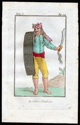 1800 Indonesien Ambon Indonesia Asia Tracht antique print costume Kupferstich