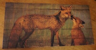 Large RED FOX MOMMA & PUP Wood Framed Canvas Lodge Cabin Home Decor Print NEW
