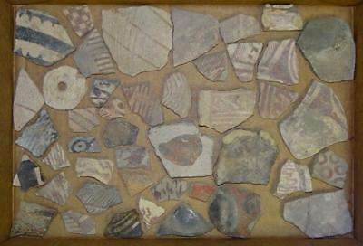 44pcs. DUG/EXCAVATED Ancient EGYPTIAN-ROMAN Painted POTTERY VESSELS BOWLS Pieces