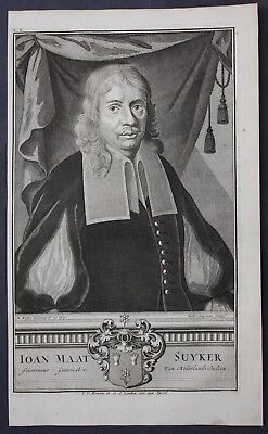 1726 Joan Maetsuycker Governor East Indies Portrait engraving Valentijn Asia