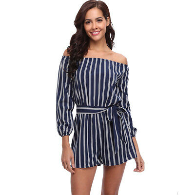9f3572d50c0 Womens Striped Strapless Mid Rise Casual Jumpsuit Shorts Long Sleeve Romper  Sexy