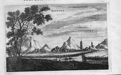 1680 - Teytong Fluss Boote Pagode China Asien Asia engraving Kupferstich