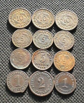 Twelve Old Coins Of Germany (Empire - Weimar Republic - Third Reich) - Mix 607