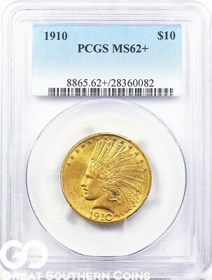 1910 PCGS Gold Eagle, $10 Gold Indian PCGS MS** Lustrous Beauty, 62+ * Free S/H!