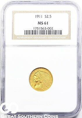 1911 NGC Quarter Eagle, $2.5 Gold Indian NGC MS 61 ** Very Nice, Free S/H!
