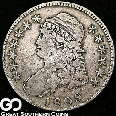 1809 Capped Bust Half Dollar, Tougher Date Early Silver Half