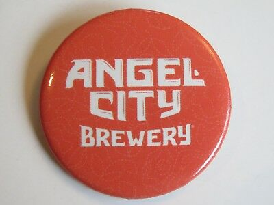 BEER Brewery BUTTON Pinback ~ ANGEL CITY Brewing Co ~ Los Angeles, CALIFORNIA